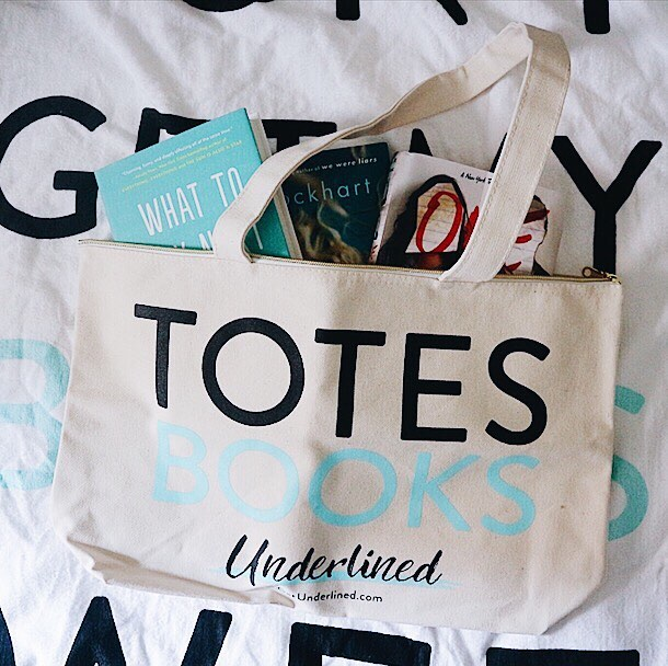 Books in tote bag for get underlined campaign